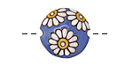 Golem Studio White Daisies on Blue Carved Ceramic Lentil 23mm