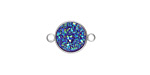 Metallic Sea Crystal Druzy Coin Link in Silver Finish Bezel 16x11mm