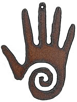 The Lipstick Ranch Rusted Iron Spiral Hand Pendant 48x63mm