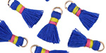 Royal Blue w/ Pink and Yellow Binding & Jump Ring Thread Tassel 18mm