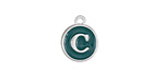 "Peacock Green Enamel Silver Finish Initial Coin Charm ""C"" 12x14mm"