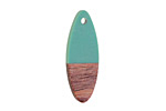 Wood & Vintage Turquoise Resin Oval Focal 10x28mm