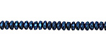 Metallic Blue Hematite (plated) Faceted Rondelle 2x4mm
