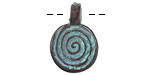 Greek Copper (plated) Patina Spiral Pendant 16x23mm