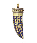 Tibetan Lapis Horn with Brass Dots 13-15x42-46