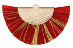 Red w/ Metallic Gold Fringed Raffia Focal 45x27mm