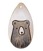 Summer Wind Art Blue Folk Bear Wood Pendant 29x54mm