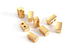 Gold Finish 2-Hole Tile Thin Rectangle Bead 4x8mm