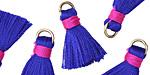 Royal Blue w/ Hot Pink Binding & Jump Ring Thread Tassel 17mm