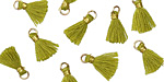 Olive Green w/ Gold Binding & Jump Ring Tiny Thread Tassel 12mm