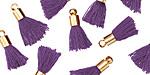 Violet w/ Gold (plated) Bead Cap Tiny Thread Tassel 14mm