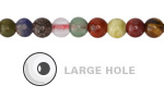 Multi Gemstone (Sodalite, Tiger Eye, Red Jasper, Aventurine) Round (Large Hole) 6mm