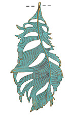 Zola Elements Patina Green Brass Tousled Feather Pendant 42x86mm