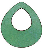 Lillypilly Lime Green Leather Large Open Teardrop 49x54mm