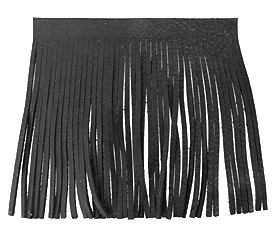 Black Leather Tassel Fringe 5 inch square