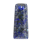 Midnight Blue Impression Jasper w/ Aluminum Accents Ladder Rectangular Pendant 17-18x42mm