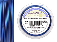 Artistic Wire Silver Plated Silver Blue 20 gauge, 25 feet