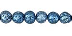 Metallic Bohemian Blue (plated) Lava Rock Round 8mm