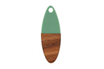 Walnut Wood & Vintage Turquoise Resin Oval Focal 10x28mm