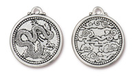 TierraCast Antique Silver (plated) Dragon Coin Pendant 25x28mm