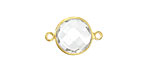 Rock Crystal Faceted Coin Link in Gold Vermeil 19x13mm