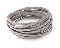 Silver Metallic Microsuede Flat Cord 3mm