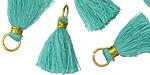 Turquoise w/ Gold Binding & Jump Ring Thread Tassel 18mm