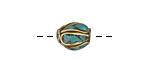 Tibetan Brass Rice Bead w/ Turquoise Mosaic Plumes 11-12x9-10mm