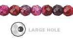Ruby Crazy Lace Agate Faceted Round (Large Hole) 8mm