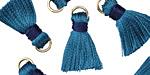 Denim w/ Navy Binding & Jump Ring Thread Tassel 18mm