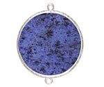 Dumortierite Coin Thin Slice w/ Silver Finish Bezel Frame Focal Link 30mm