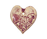 Gaea Ceramic Raspberry Jam Romantic Heart 29x33mm