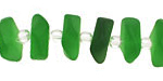Shamrock Recycled Glass Freeform Spacer 4-5x14-15mm