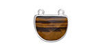 Tiger Eye Faceted Half Moon w/ Silver Finish Bezel Focal Link 17x16mm