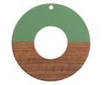 Walnut Wood & Vintage Turquoise Resin Donut Focal 45mm