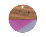 Walnut Wood & Plumeria Resin Coin Focal 28mm