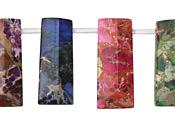 Multi Color Impression Jasper Faceted Ladder 12x30mm