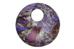 Purple Impression Jasper & Pyrite Off Center Donut 30mm