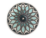 Golem Studio Blue Sunburst Carved Ceramic Circle Pendant 37mm