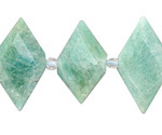 Brazil Amazonite Faceted Side-Drilled Diamond 16-18x27-30mm