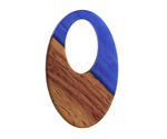Walnut Wood & Indigo Pearlescent Resin Oval Off-Center Hoop Focal 22x35mm