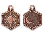 TierraCast Antique Copper (plated) Sun & Moon Pendant 15x28.5mm