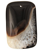 Black & White Agate Rectangle Pendant 35x55mm