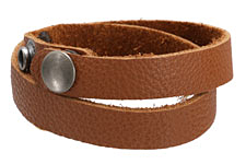 "The Lipstick Ranch Light Rust Leather Cuff Double Wrap Bracelet 1/2"" x 16 1/4"""
