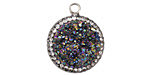 Metallic Rainbow Druzy w/ Pave Wrap Coin Focal Set in Silver (plated) 20x22mm