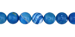 Aqua Blue Line Agate Round 8mm