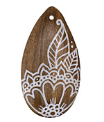 Summer Wind Art Henna Flower Wood Pendant 29x54mm