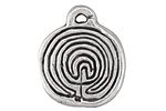 Greek Pewter Labyrinth Disc Pendant 25x31mm