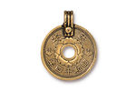 TierraCast Antique Gold (plated) Asian Coin Pendant 21x26mm