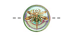 Czech Glass Iridescent Green w/ Gold Dragonfly Button 18mm